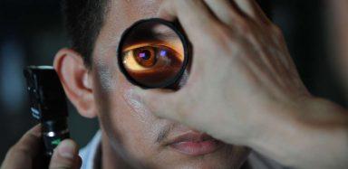 Someone getting an eye exam.