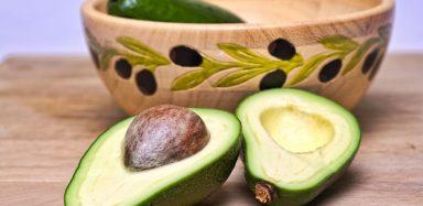 A sliced open avocado.