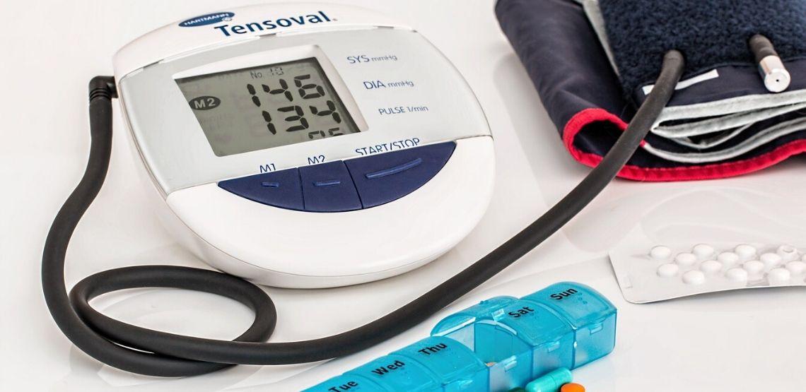 A blood pressure reading machine.