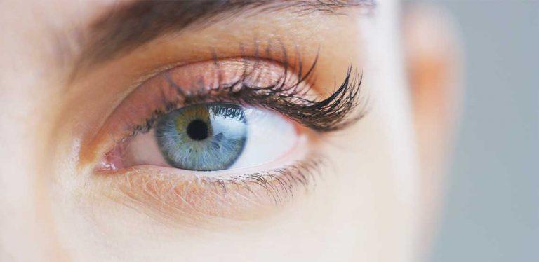 An eye with long eyelashes.