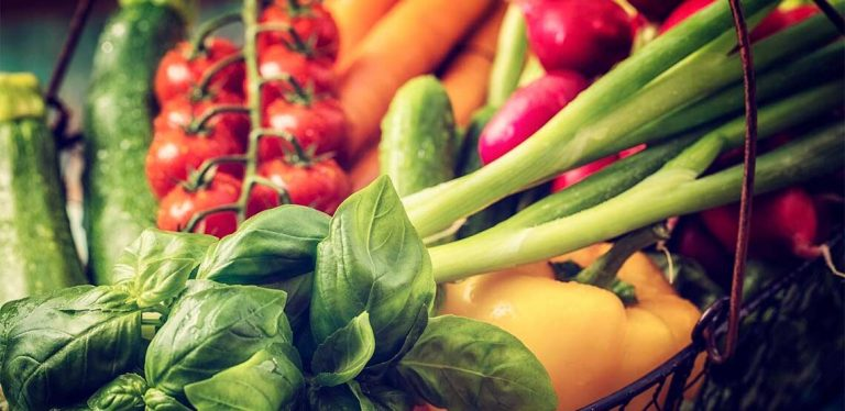 A close up photo of various fruits and vegetables