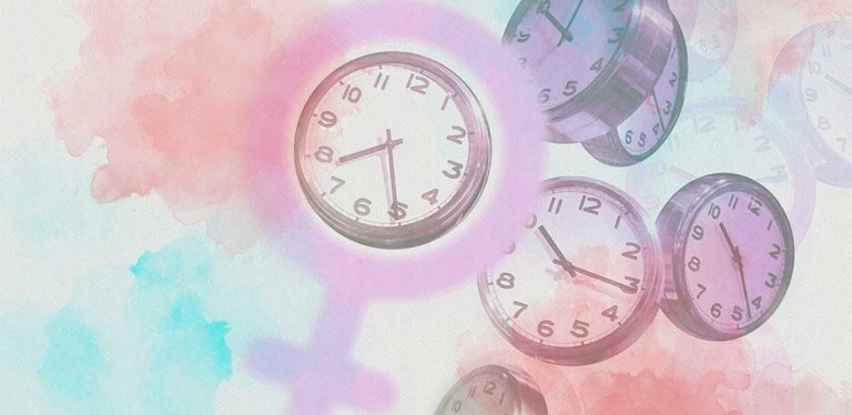 Four clocks floating in pink, blue, and peach color splotches.