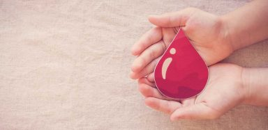 Two hands holding a paper cut out of a drop of blood.